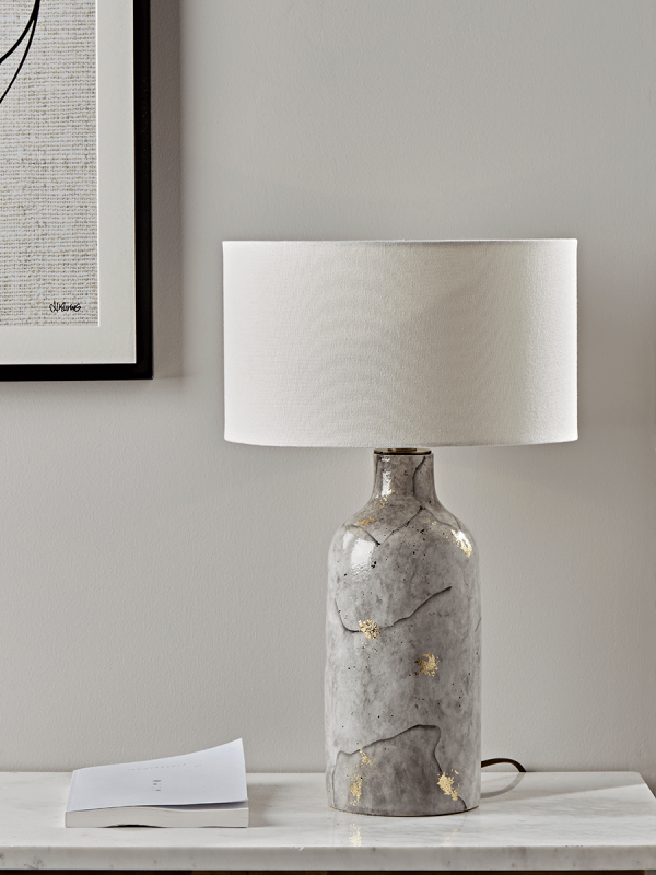 Painted Marble & Gold Table Lamp