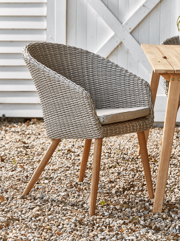 Two Faux Rattan Dining Chairs, Wicker Or Rattan Dining Room Chairs