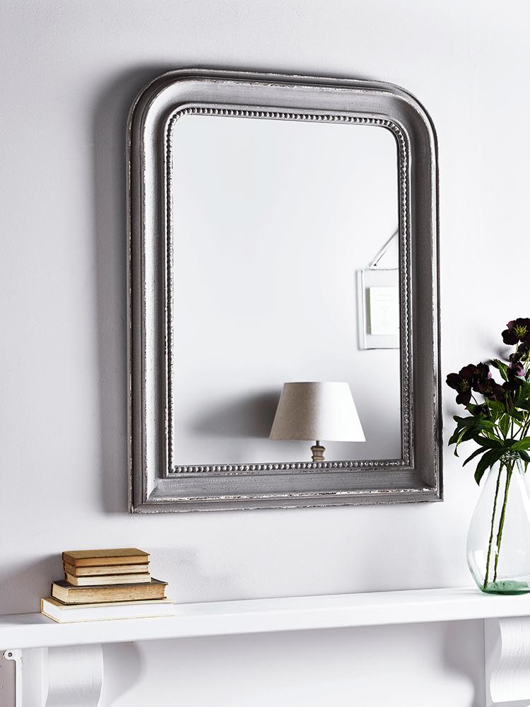 Distressed Grey Beaded Edge Mirror