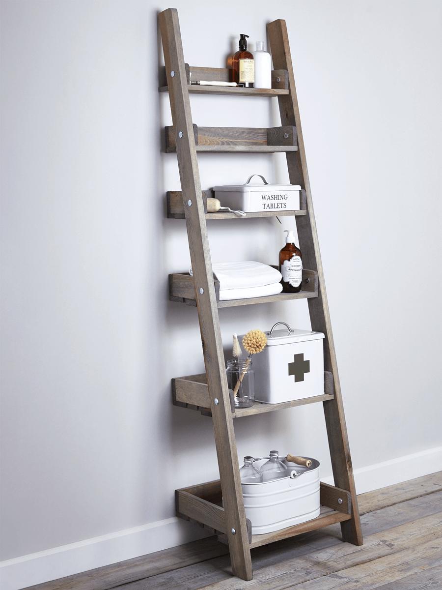 Rustic Wooden Ladder Shelf Slim