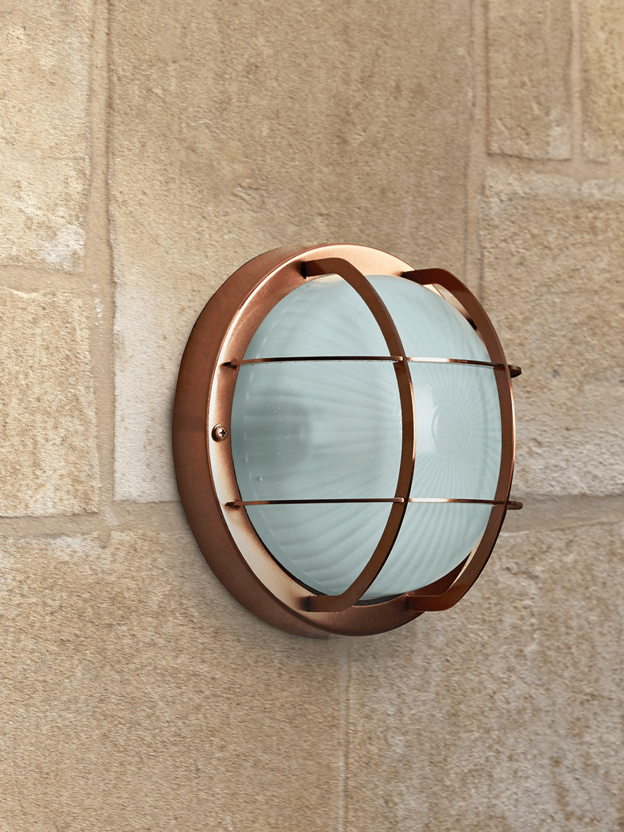 NEW Round Bunker Wall Light - Copper