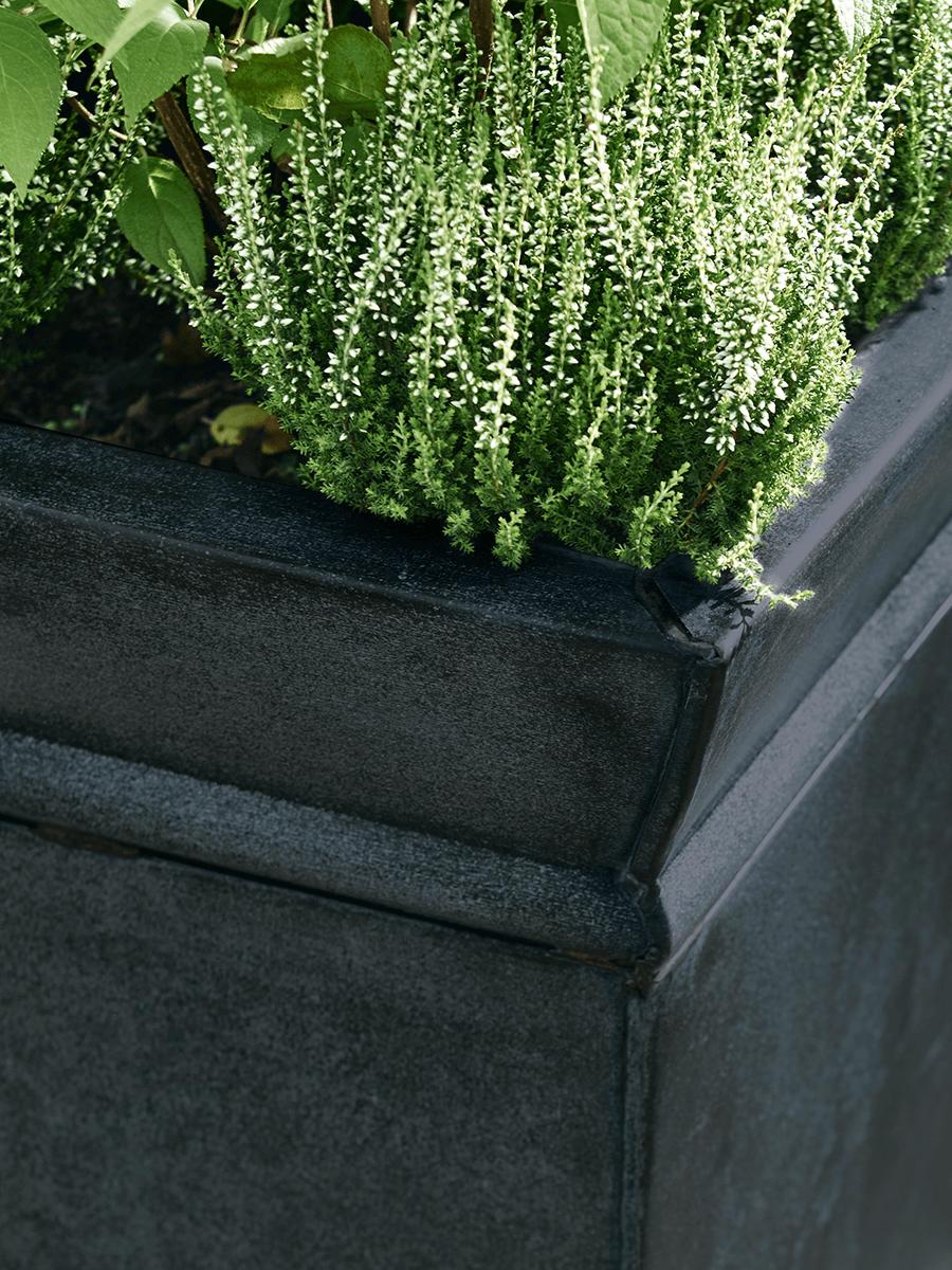 Square Metal Planter - Zinc