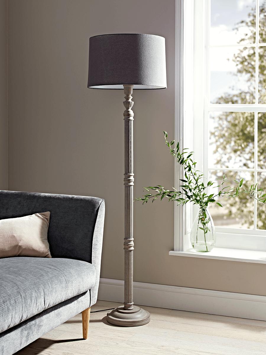 NEW Grey Carved Wood Floor Lamp