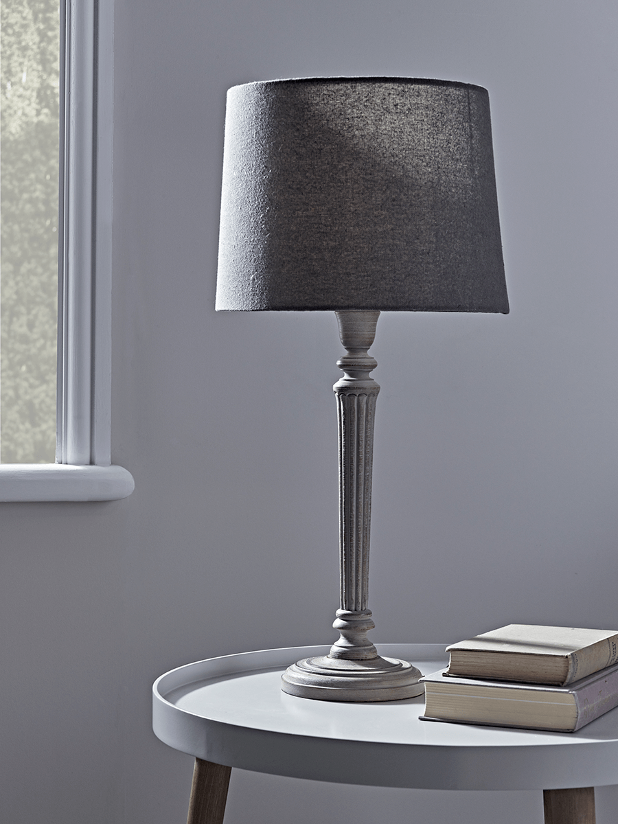 Grey Carved Wood Table Lamp