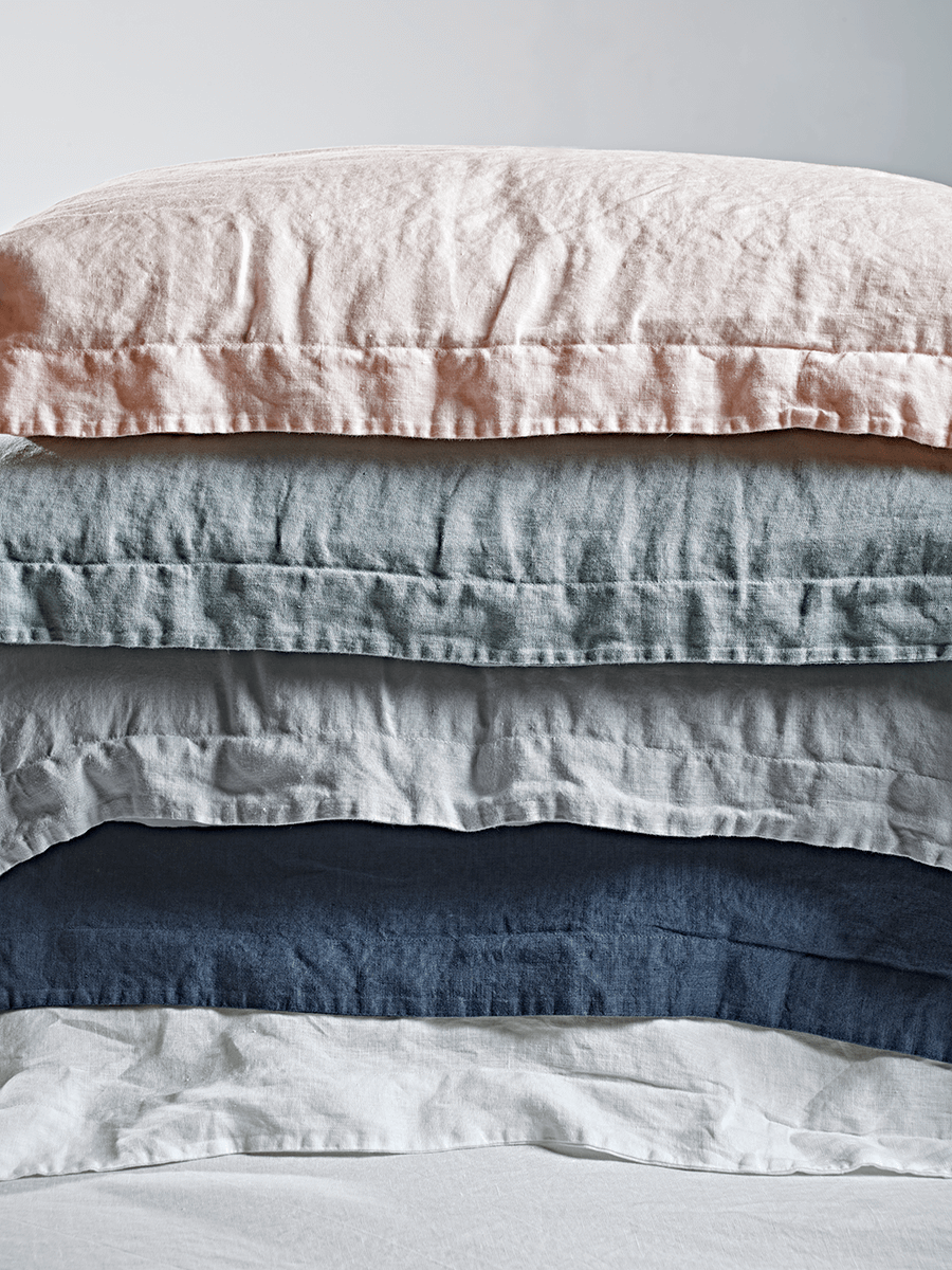 NEW Washed Linen Bedding - Blue