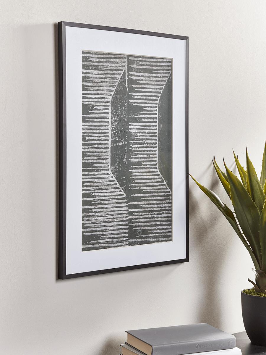 Abstract Grey Block Print
