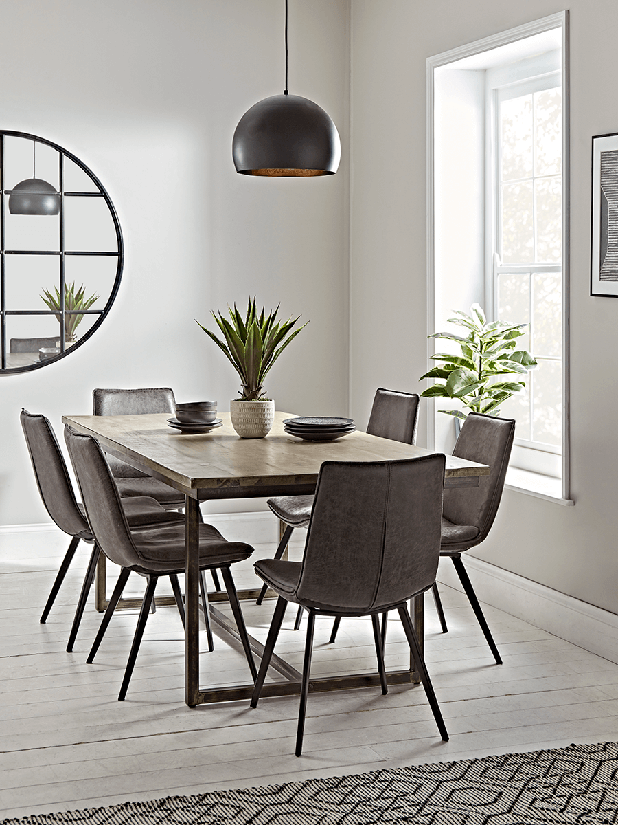 Industrial Iron Dining Table, Wood And Iron Dining Room Set