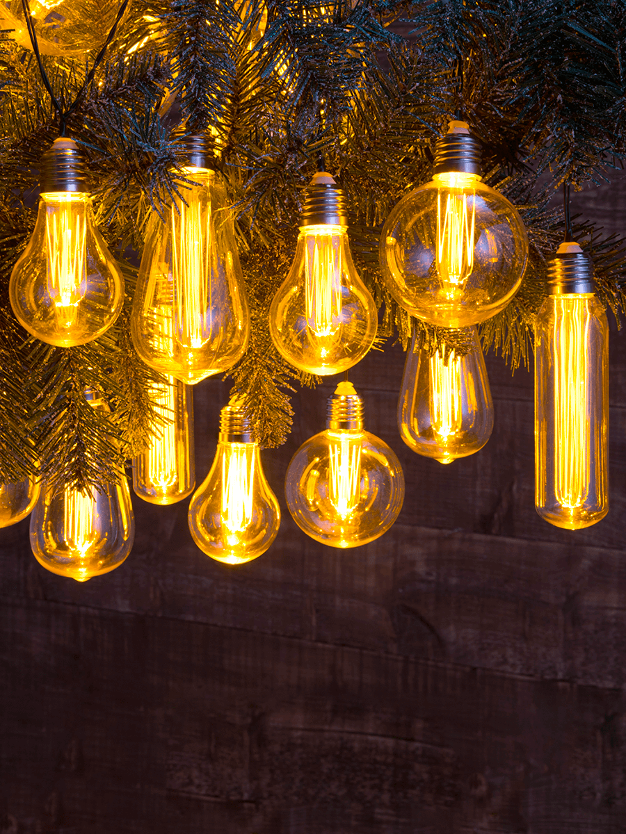 Extendable Vintage Style Bulb String Lights