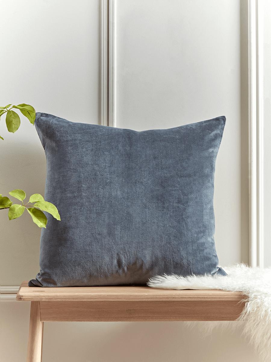 Large Velvet Linen Cushion French Blue