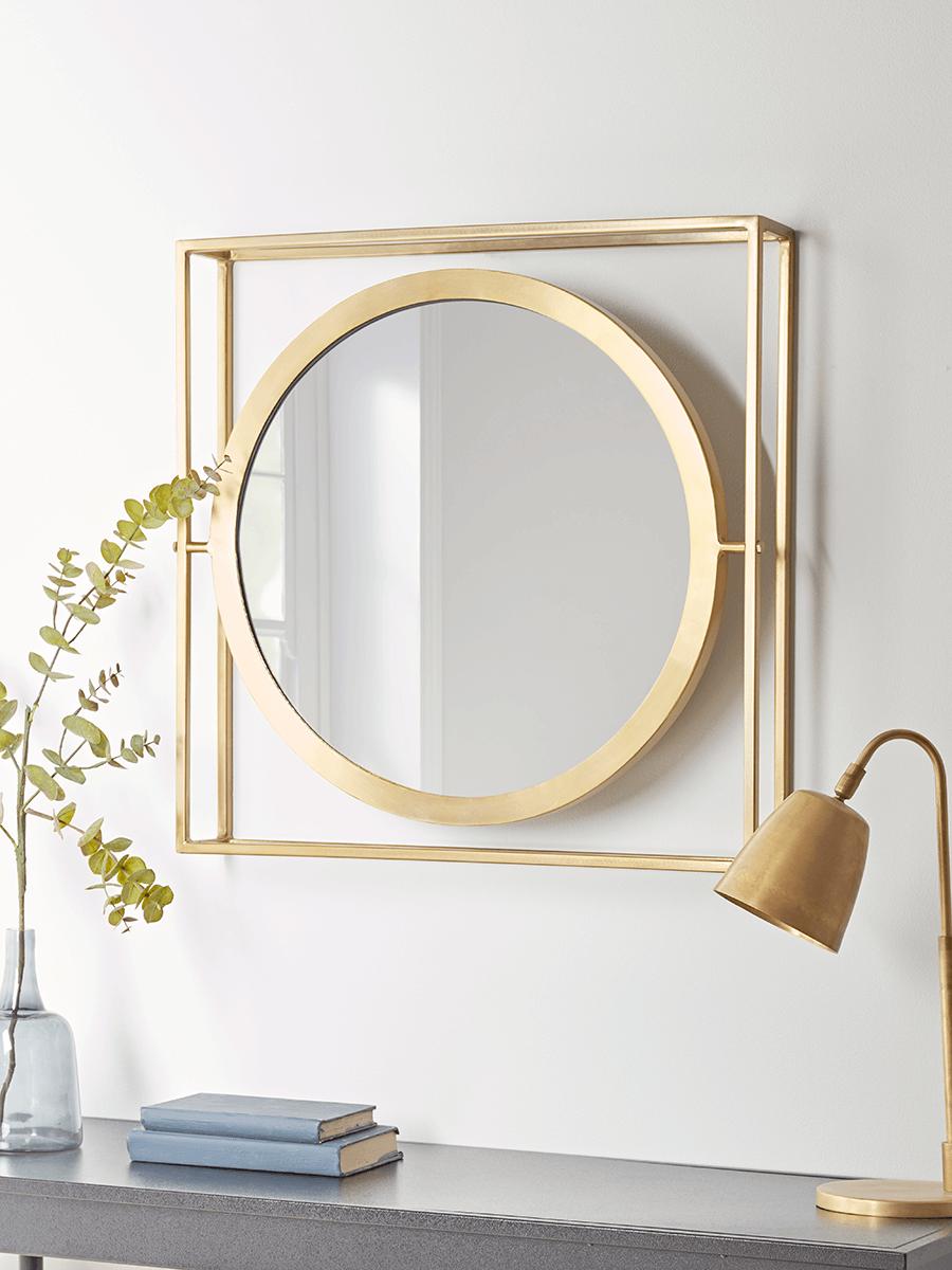 Round Mounted Mirror - Brass