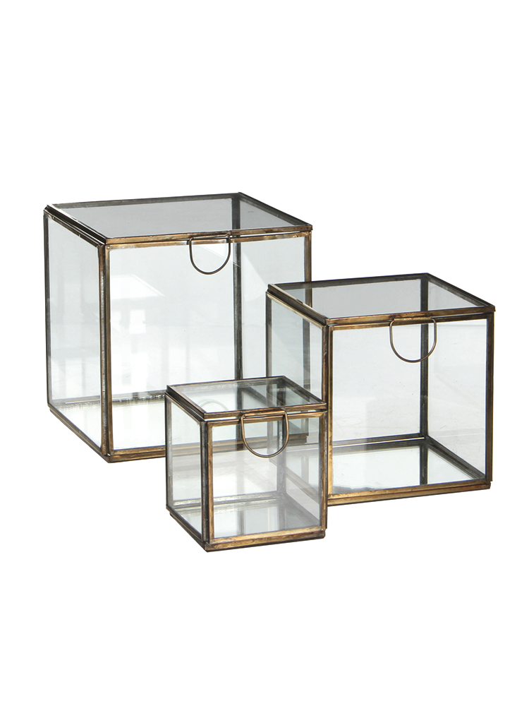 Three Glass Display Cubes