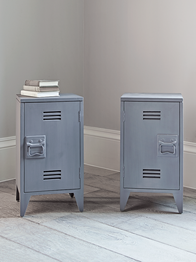 Two Grey Wooden Bedside Tables